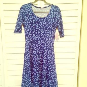 New Lularoe Nicole Dress in Blue Cheetah Print